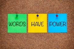 Phrase Words Have Power on corkboard. Three blanks post-it notes with phrase Words Have Power on corkboard stock photo