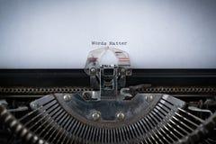 Words Matter Typed on Typewriter. The phrase Words Matter typed on an old Typewriter Stock Photos