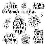 Phrases about Easter. Handwritten lettering set Stock Photography