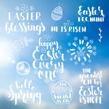 Phrases about Easter over abstract blurred background Stock Images
