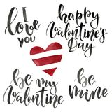 Phrases for Valentine`s Day: I love you, happy Valentine`s Day, be mine, be my Valentine. Watercolor illustration with. Red heart isolated on white background Stock Photography