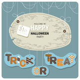 The phrases welcome. Happy Halloween cover design.The phrases welcome to happy halloween party,31st october and trick or treat  on the blue background Stock Photography
