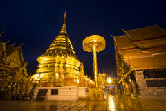 Phrathat Doi Suthep at night , Chiangmai landmark Royalty Free Stock Image