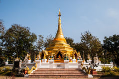 Golden pagoda named Phrathat San Hai Stock Image