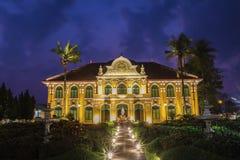 Phraya Abhaibhubate building at twilight, old building at Prachi Stock Photo