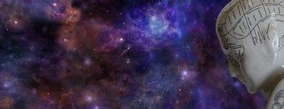 Phrenologie-Kopf und Weltraum-Fahne Stockfotografie