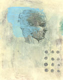 Phrenology Head. Map of the human mind. Mixed medium illustration Royalty Free Stock Photo