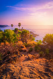 Phromthep在日落天空的海角观点在普吉岛 免版税图库摄影