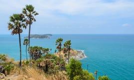 Phromthep海角观点在普吉岛,泰国 免版税图库摄影