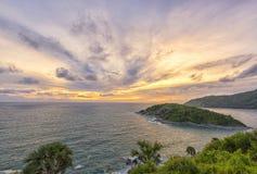 Phromthep海角观点在普吉岛,泰国 免版税库存照片