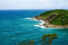 Phromthep海角,意想不到的海andaman在普吉岛海岛,泰国 免版税图库摄影