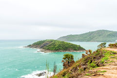 Phromthep海角,美好的安达曼海视图在普吉岛海岛,泰国 免版税库存图片