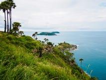 Phromthep Cape phuket Thailand. Hill island sea ocean white sky at Phromthep Cape phuket Thailand Stock Image