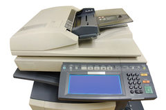 Phtocopier front view. Front view of the office photocopier with numeric pad and electronic display, isolated on white Royalty Free Stock Photo