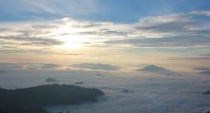 Phu chee fha mountain thailand. The sunrise and fog on the phu chee fha mountain in thailand royalty free stock image