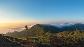 Phu chi duen Unseen in Chiangrai,Thailand. Beautiful Sunrise of travel place with morning mist at Phu chi duen Unseen in Chiangrai,Thailand stock images