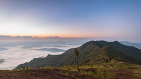 Phu chi duen Unseen in Chiangrai,Thailand. Beautiful Sunrise of travel place with morning mist at Phu chi duen Unseen in Chiangrai,Thailand royalty free stock image