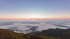 Phu chi duen Unseen in Chiangrai,Thailand. Beautiful Sunrise of travel place with morning mist at Phu chi duen Unseen in Chiangrai,Thailand stock photography