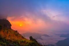 Phu Chi Fah in Chiang Rai,Thailand at sunrise. Royalty Free Stock Photo
