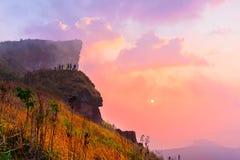 Phu Chi Fah in Chiang Rai,Thailand at sunrise. Stock Images