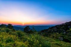 Phu Chi Fah in Chiang Rai,Thailand at sunset. Stock Photos