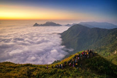 Phu chi fah. A sunrise over the fog in phu chi fah mountain ,chiang rai , Thailand Royalty Free Stock Image