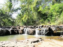 Waterfall Phu Foy Lom. Phu Foy Lom waterfall of northeastern of thailand  Esan of thailand waterfall in arid season for the tourist Royalty Free Stock Photos
