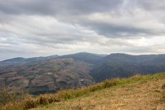 Evening sky and panoramic views from mountaintop of Phu Lom Lo,Phu Hin Rong Kla National Park,Kok Sathon,Dan Sai District,Loei,Tha. Phu Lom Lo is the new tourist Royalty Free Stock Images