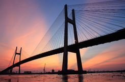 Phu My wire bridge at Saigon ( Ho Chi Minh City ) , Vietnam in the sunset. Stock Images