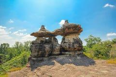 Phu Pha Thoep nationalpark, Mukdahan, Thailand, arkivfoto