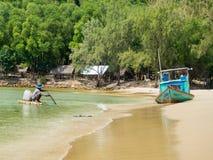 Phu Quoc海岛,南越,春天2017年:[在Th的渔船 库存照片