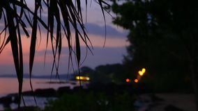 Phu Quoc c island. A violet decline on the tropical island. Fires on the bank of the island.. Evening coast of Phu Quoc c island. A violet decline on the stock footage