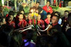 Phu Tajlandzcy ludzie zrobili tajlandzkiej błogosławieństwo ceremonii dzwoniącej baisrisukwan Fotografia Royalty Free