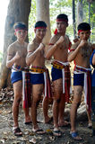 Phu Thai people boxing and dancing phu thai style for show trave Royalty Free Stock Image