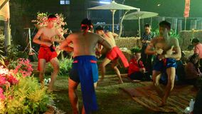 Phu Thai people boxing and dancing phu thai style show traveller. SAKON NAKHON, THAILAND - JANUARY 14 : Phu Thai people boxing and dancing phu thai style show stock video