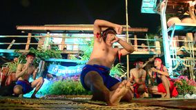 Phu Thai people boxing and dancing phu thai style show traveller stock video
