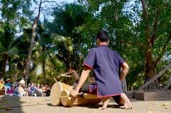 Phu Thai people hitting klong or drum khaek for dancing phu thai Stock Photo