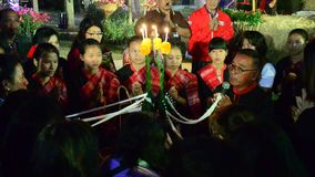 Phu Thai people made thai blessing ceremony called baisrisukwan for visitor stock video footage