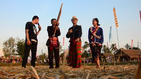 Phu Thai people singing and playing musical instruments phu thai style stock footage
