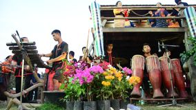 Phu Thai people singing and playing musical instruments phu thai style stock video