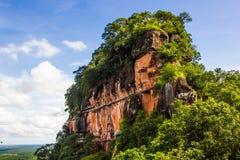 Phu Thok köp, i Thailand Trästege på sidan av vagga Arkivfoto