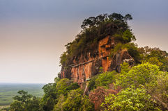 Phu Tok. Bueng Kan, Thailand- March 22, 2015: Phu Tok, mountain in Wat Je Ti Ya Ki Ree Vi Harn. is tourist attraction with wooden trail round of the 7 floors Royalty Free Stock Photos