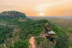 Phu tok mountain or Wat Jetiyakiree Viharn Temple. Unseen in thailand and amazing thailand,Phu tok mountain or Wat Jetiyakiree Viharn Temple with wooden trail stock image