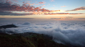 Dramatic clouds with mountain in dawn Royalty Free Stock Image