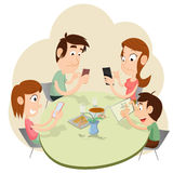 Phubbing Family Illustration Royalty Free Stock Photo