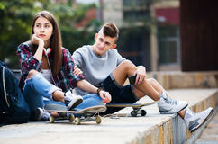 Phubbing: teenager ignore her friend Stock Image