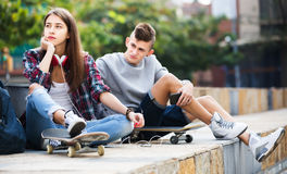 Phubbing: teenager ignore her friend Stock Photography