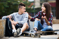 Phubbing: teenager ignore his friend Stock Images