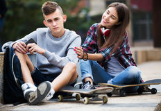 Phubbing: teenager ignore his friend Stock Image