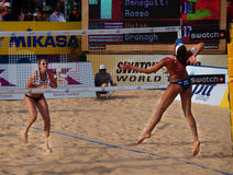Phuket 2010 final. Photo could be used to cover story about recent event in Phuket http://www.fivb.ch/EN/BeachVolleyball/Competitions/WorldTour/2010/Event/? Royalty Free Stock Photography